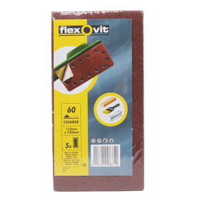 Flexovit PTA Sanding Sheets 1/2 Punched - 115 x 230mm - 60 Grit