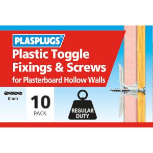 Plasplugs Standard Plasterboard Toggle & Screws x 10