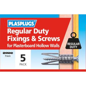 Plasplugs Standard Plasterboard & Screws x 5