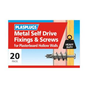 Plasplugs Metal Self Drive & Screws x 20