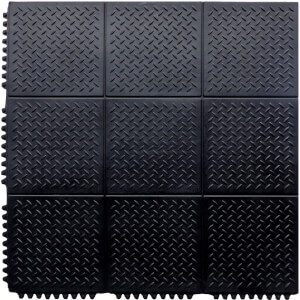 Interlocking Rubber Checker Plate Floor Mat - Black