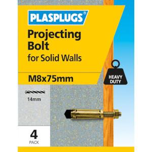 Projecting Bolt M8 X 75mm 4 Pk