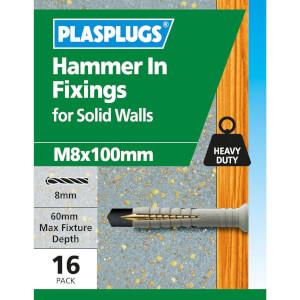 Hammer In Fixings M8 X 100 10 Pk