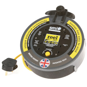 SMJ Reel Pro 4 Socket Cable Reel 10m Black