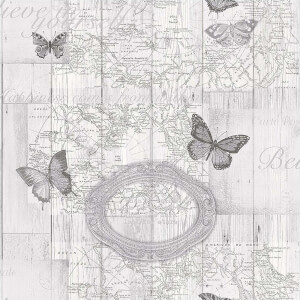 Fresco Butterfly Map Grey Wallpaper