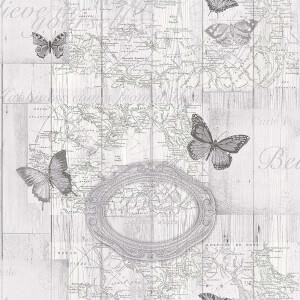 Fresco Butterfly Map Grey Wallpaper