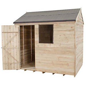8x6ft Forest Wooden Overlap Pressure Treated Reverse Apex Shed -incl. Installation
