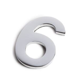 Chrome Self Adhesive House Number - 60mm - 6