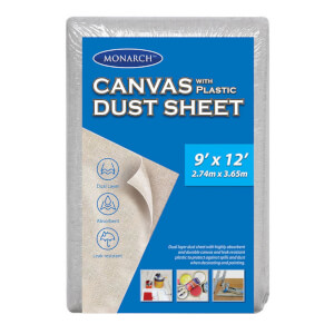 Monarch Canvas Plastic Drop Sheet - 9 x 12