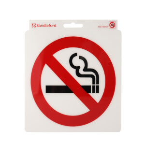 Self Adhesive No Smoking Symbol Sign - 152 x 152mm