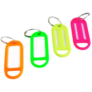 Key Rings with ID Tags - 4 Pack - Fluorescent Colours