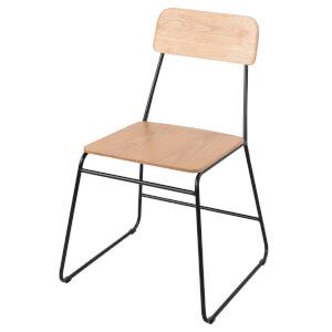 Black and Oak Veneer Utility Chair