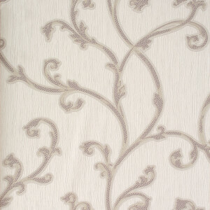 Belgravia Decor Perlina Floral Embossed Metallic Rose Scroll Wallpaper