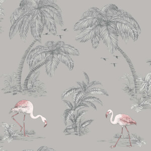 Holden Decor Flamingo Lake Tree Smooth Subtle Glitter Grey Wallpaper