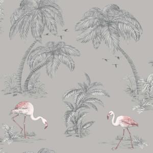 Holden Decor Flamingo Lake Tree Smooth Subtle Glitter Grey Wallpaper