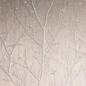 Boutique Water Silk Sprig Wallpaper - Rose Gold