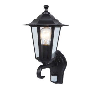 Lutec Corniche 60W PIR Wall Light - Black