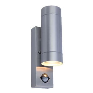 Lutec Rado Up/Down PIR Wall Light - Brushed Steel