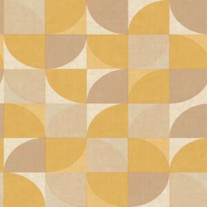 Grandeco Geo Crescent Yellow Wallpaper