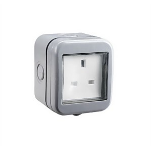 BG 13 Amp 1 Gang Unswitched Weatherproof Socket IP55 Rated Grey