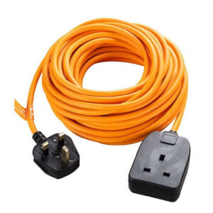 Masterplug 1 Socket Heavy Duty Extension Lead 10m Orange/Black
