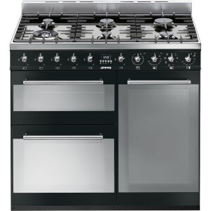 Smeg SY93BL Symphony Duel Fuel Range cooker - 90cm - Black