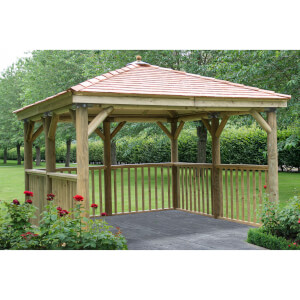 Forest (Installation Included) Cedar Roof Square Gazebo No Floor - 3.5m