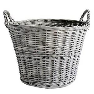 Grey Wash Wicker Basket - 45cm