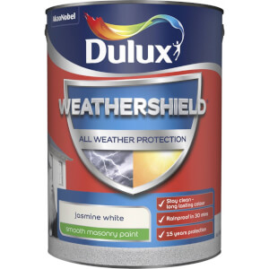 Dulux Weathershield All Weather Smooth Masonry Paint - Jasmine White - 5L