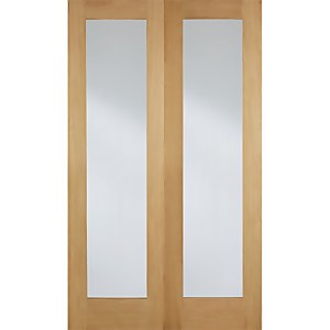 Pattern 20 Internal Glazed Unfinished Oak 1 Lite Pair Doors - 1372 x 1981mm