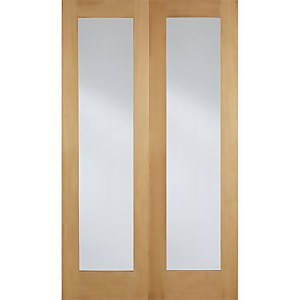 Pattern 20 Internal Glazed Unfinished Oak 1 Lite Pair Doors - 1524 x 1981mm