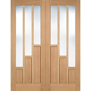 Coventry Internal Glazed Unfinished Oak 3 Lite Pair Doors - 1067 x 1981mm
