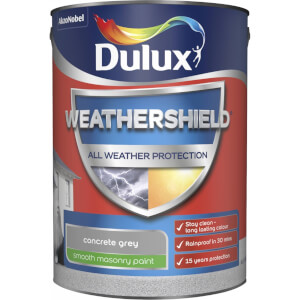 Dulux Weathershield All Weather Smooth Masonry Paint - Concrete Grey - 5L