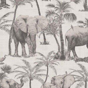 Arthouse Elephant Grove Jungle Embossed Metallic Charcoal Wallpaper