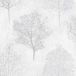 Arthouse Wonderland Mono Tree Textured Glitter Grey Wallpaper