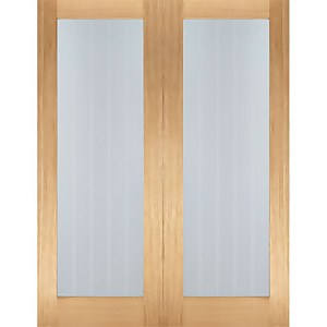 Mexicano Internal Glazed Unfinished Oak 1 Lite Pair Doors - 1220 x 1981mm
