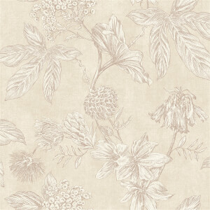 Arthouse Botanic Floral Textured Metallic Nude Wallpaper