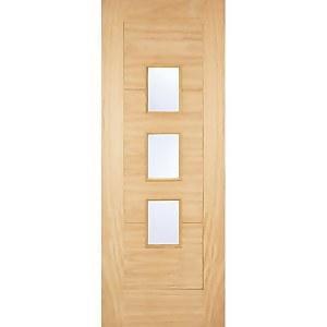 Arta External Glazed Unfinished Oak 3 Lite Part L Compliant Door - 838 x 1981mm