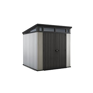 Keter Artisan Outdoor Garden Storage Pent Shed, 7x7ft Grey