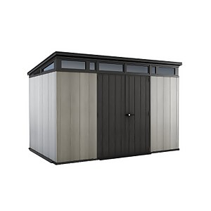 Keter Artisan Outdoor Garden Storage Pent Shed, 11x7ft Grey