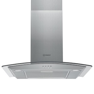 Indesit IHGC 6.5 LM X 60cm Chimney Hood - Curved Glass