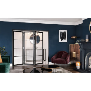 Slim-line Black 4 Light Clear Glazed Room Divider 3+0