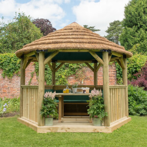 Forest (Installation Included) Thatch Roof Furnished Gazebo - 3.6m - Green