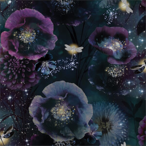 Arthouse Nocturnal Floral Smooth Glitter Purple and Teal Wallpaper