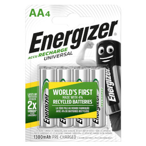 Energizer Universal 1300mAh Rechargeable AA Batteries - 4 Pack
