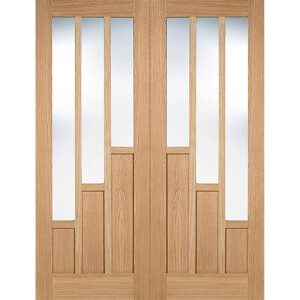 Coventry Internal Glazed Prefinished Oak 3 Lite Pair Doors - 1524 x 1981mm