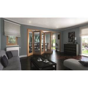 Shaker Oak 1 Light Clear Glazed Interior Folding Doors 5 x 0 2047 x 3538mm