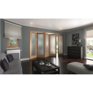 Shaker Oak 1 Light Obscure Glazed Interior Folding Doors 4 x 1 2047 x 3158mm