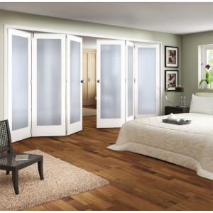 Shaker White Primed 1 Light Obscure Glazed Interior Folding Doors 3 x 3 2047 x 3771mm