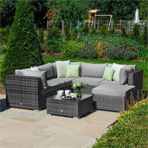 Nova Chester Rattan Corner Sofa Set in Grey